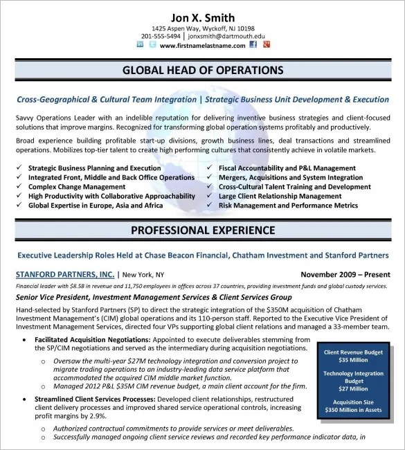 14+ Executive Resume Templates - PDF, DOC Free  Premium Templates - Free Templates For Resume