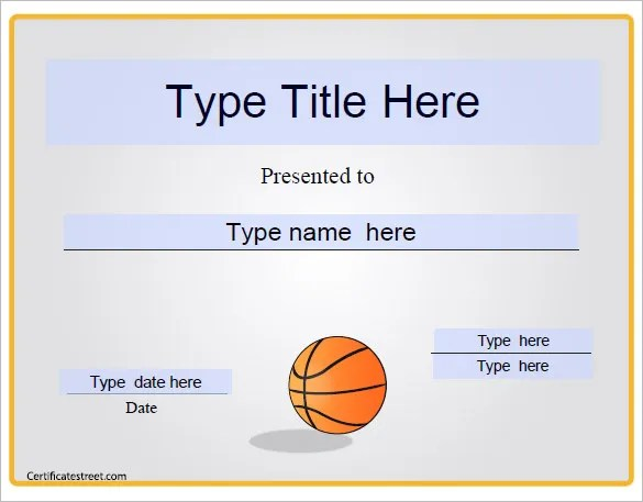 Basketball Certificate Template - 14+ Free Word, PDF, PSD Format - certificates free download free printable