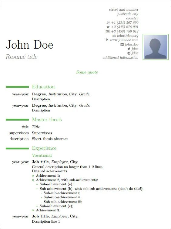 templates cv latex