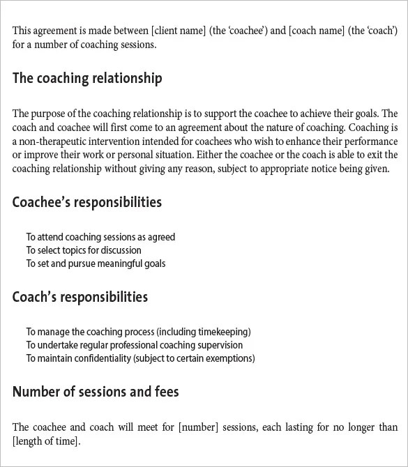 10+ Sample Coaching Contract Templates - Docs, Word, Pages Free