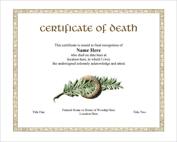 8+ Death Certificate Templates \u2013 Free Word, PDF Documents Download