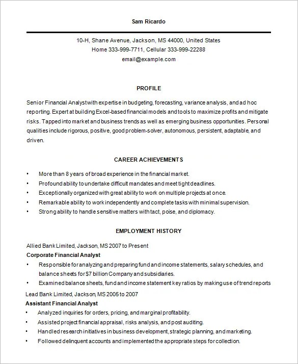 Business Analyst Resume Template u2013 15+ Free Samples, Examples - employment resume template