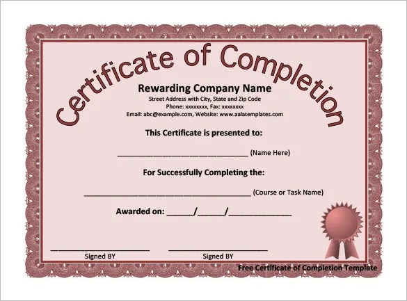 Completion Certificate Templates \u2013 40+ Free Word, PDF, PSD, EPS - free certificate of completion templates for word