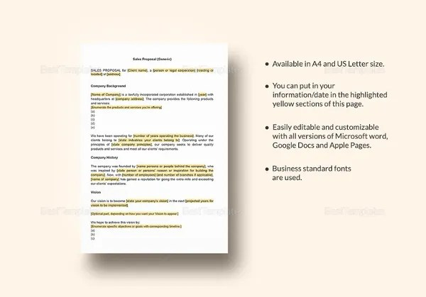 Sales Proposal Templates - 15+ Free Sample, Example, Format Download - Sales Proposal Letter