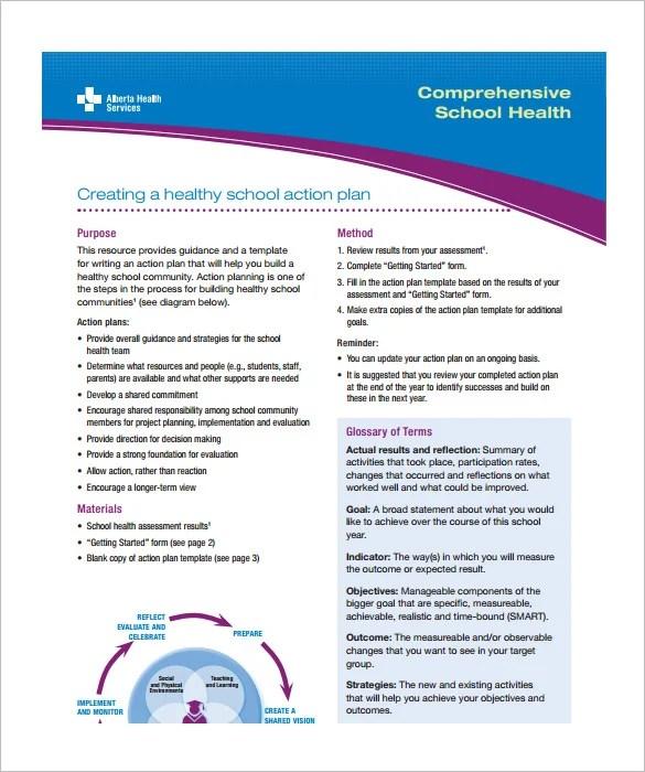 School Action Plan Template \u2013 5+ Free Word, Excel, PDF Format - school action plan template