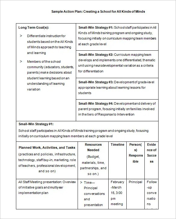 School Action Plan Template u2013 5+ Free Word, Excel, PDF Format - plan of action format