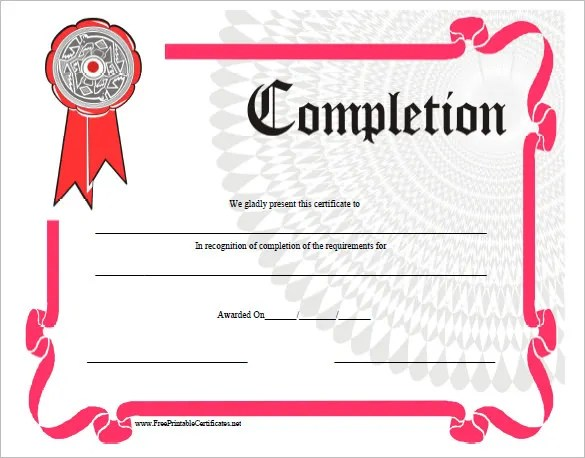 Completion Certificate Templates \u2013 40+ Free Word, PDF, PSD, EPS