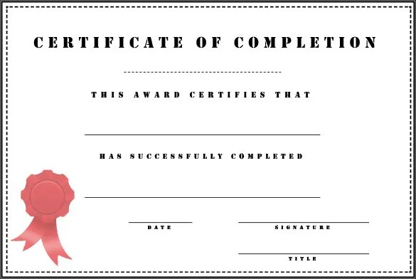 Completion Certificate Templates \u2013 40+ Free Word, PDF, PSD, EPS - blank achievement certificates