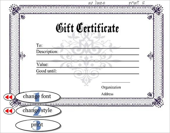 Editable Gift Certificate Templates
