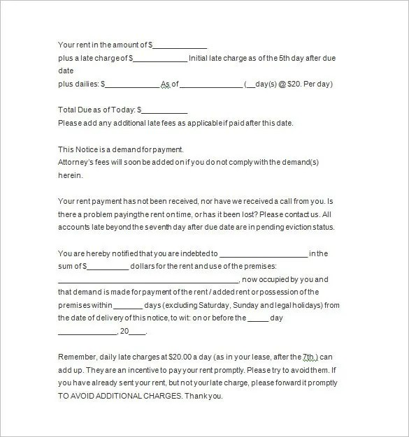 Past Due Letter Template Free Letter Template 2017Late Rental - eviction notice template