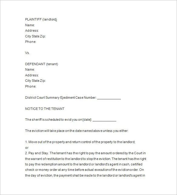 19+Sample Eviction Notice Templates - Free Samples, Examples - copy of an eviction notice