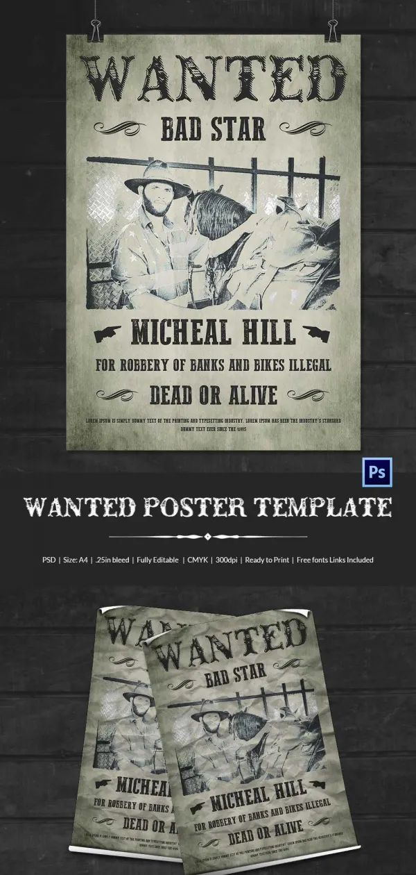 free wanted poster template printable