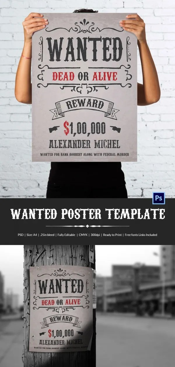 Wanted Poster Template - 34+ Free Printable Word, PSD, Illustration - editable poster templates