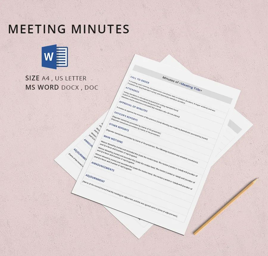 recording minutes of a meeting template