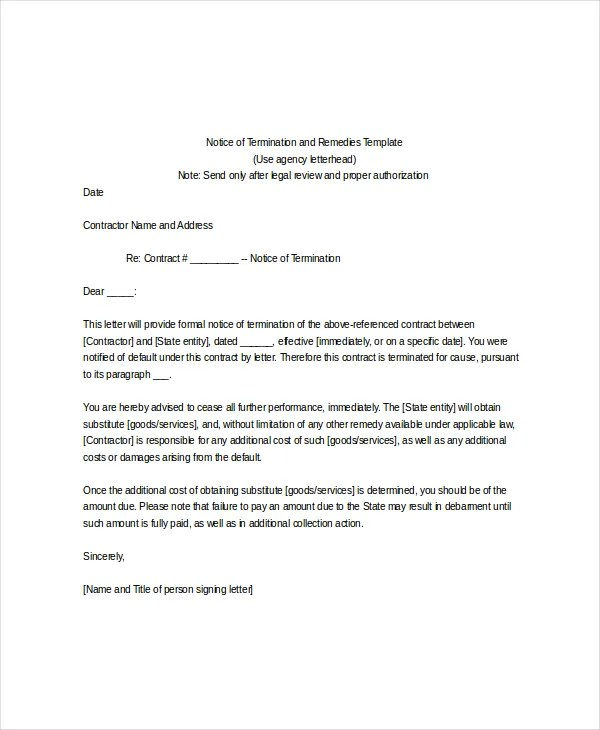 Termination notice template pasoevolist termination notice template altavistaventures Gallery