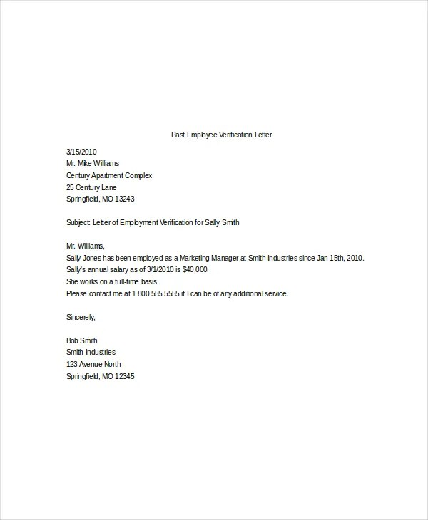 10+ Employment Verification Letter Templates - Free Sample, Example - example of employment verification letter