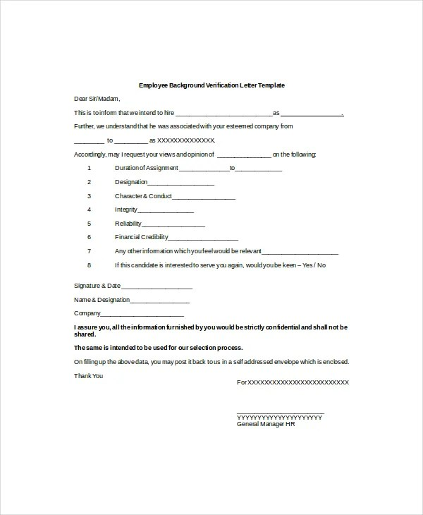 10+ Employment Verification Letter Templates - Free Sample, Example - Employee Letter Templates