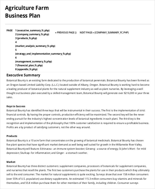 Farm Business Plan Template - 9+ Free Sample, Example, Format - business plans sample