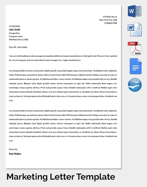 sample marketing cover letters