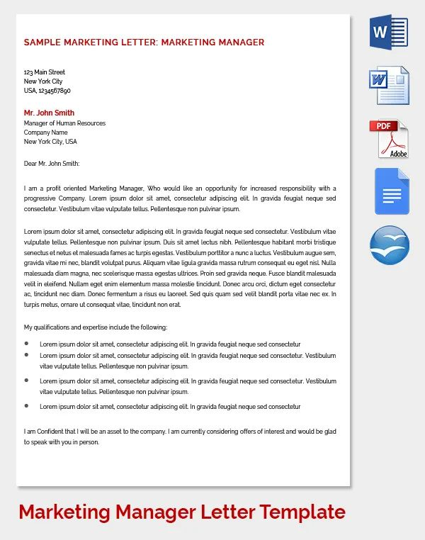 marketing manager cover letters
