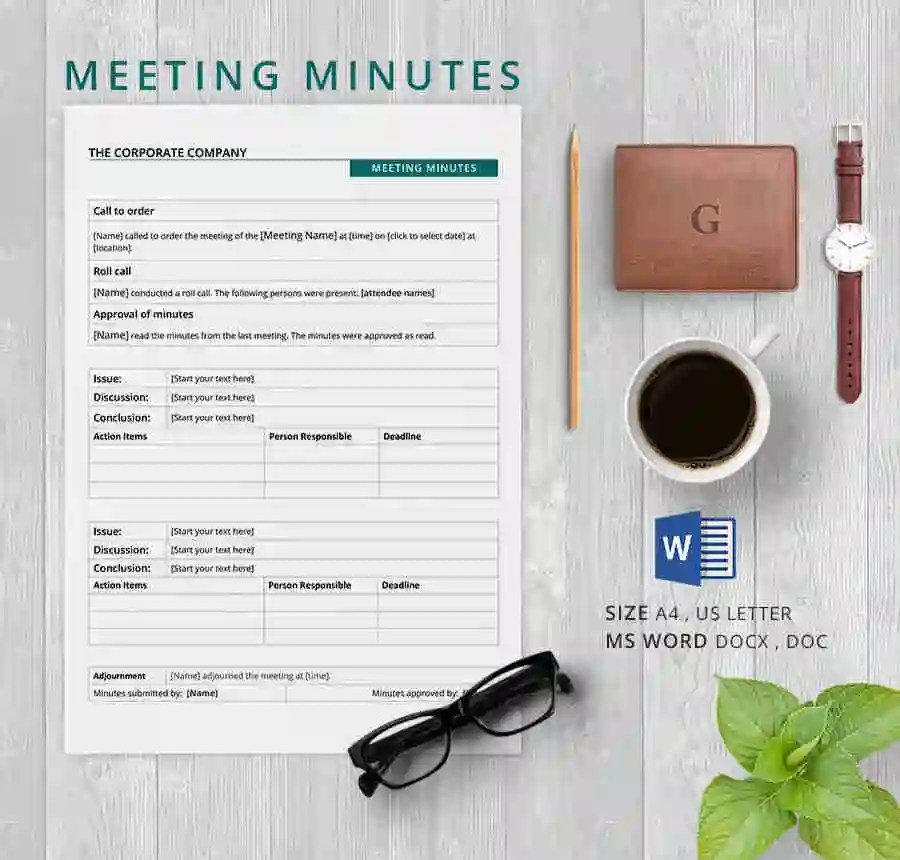 minutes template for word - Josemulinohouse - Free Meeting Minutes Template Word