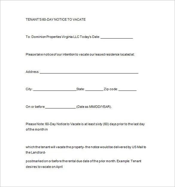 Notice Templates - 104+ Free Word, PDF Format Download Free - free notice to vacate