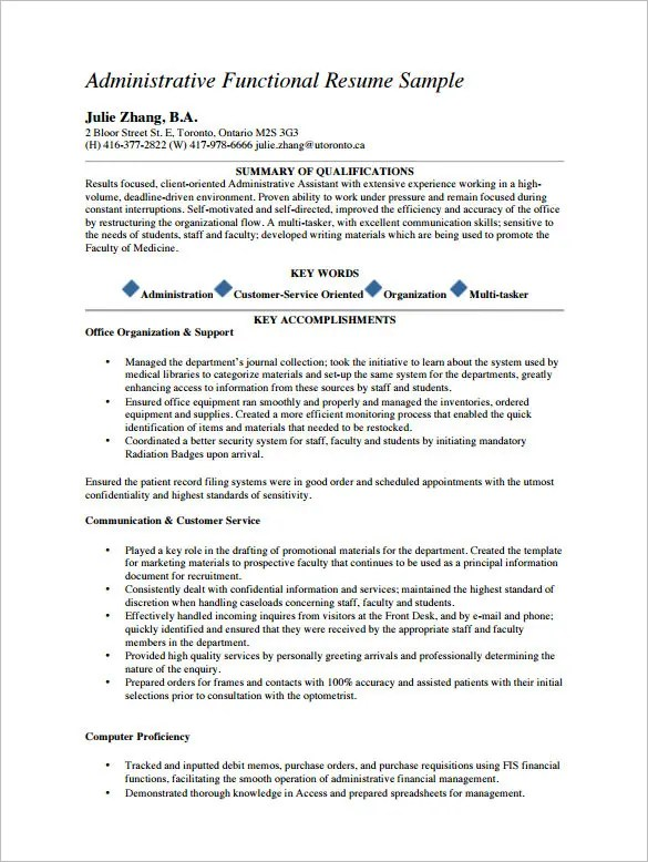 Medical Assistant Resume Template \u2013 8+ Free Samples, Examples - Functional Resume Template Pdf