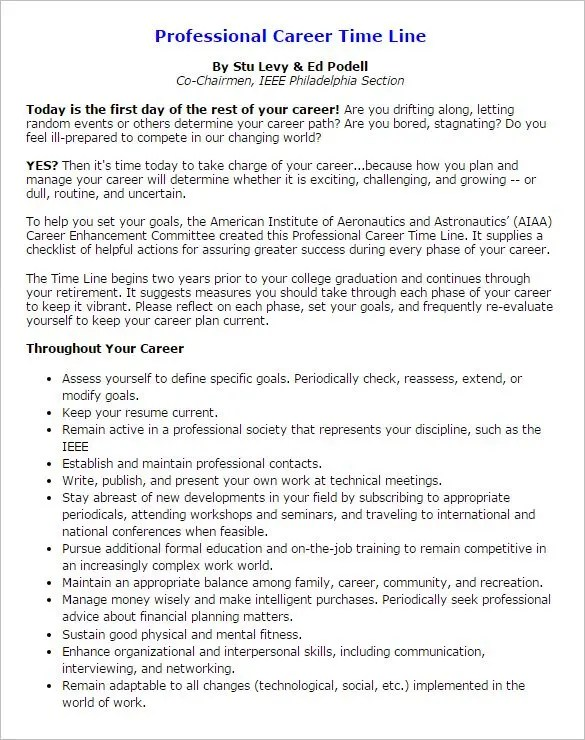 9+ Career Timeline Templates \u2013 Free Sample, Example, Format Download