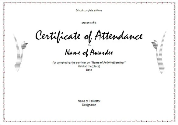 attendance certificate sample - Towerssconstruction