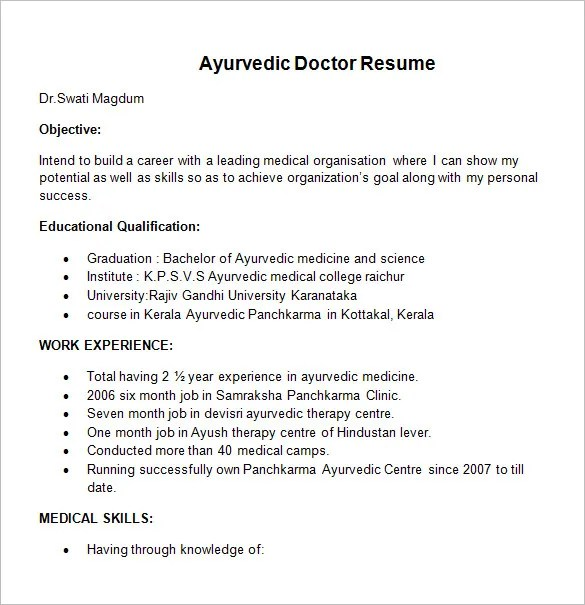 Doctor Resume Template Ayurvedic Doctor Resume Template Doctor - doctors resume format