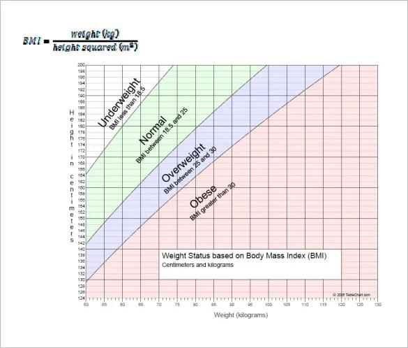 BMI Chart Templates -13+ Free Word, Excel, PDF Format Download - bmi chart template