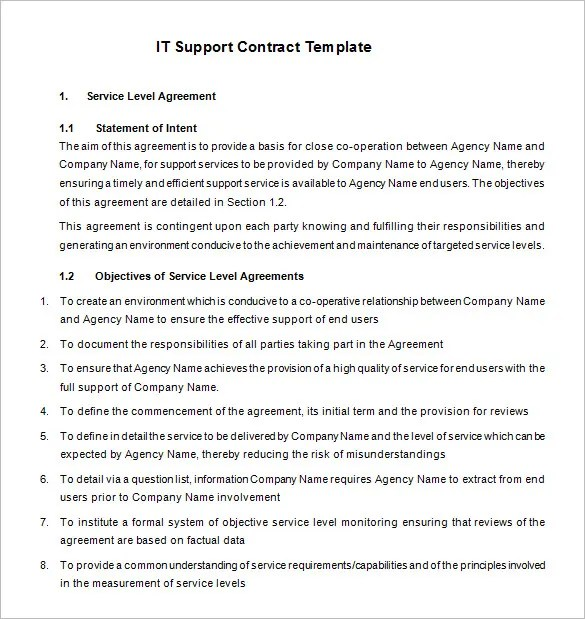 9+ IT Support Contract Templates \u2013 Free Word, PDF Documents Download - it support contract template
