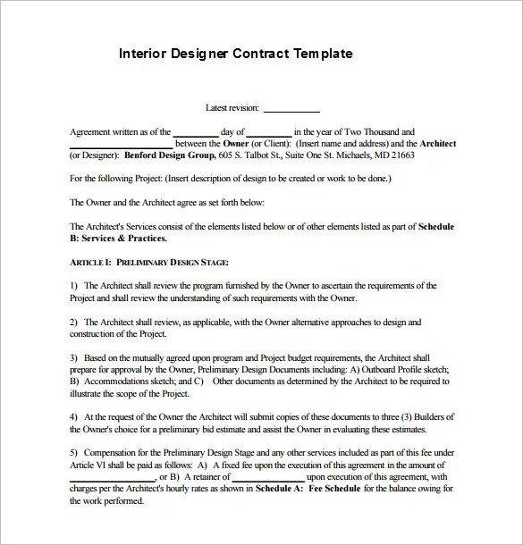 6+ Interior Designer Contract Templates u2013 Free Word, PDF Documents - free construction contracts templates