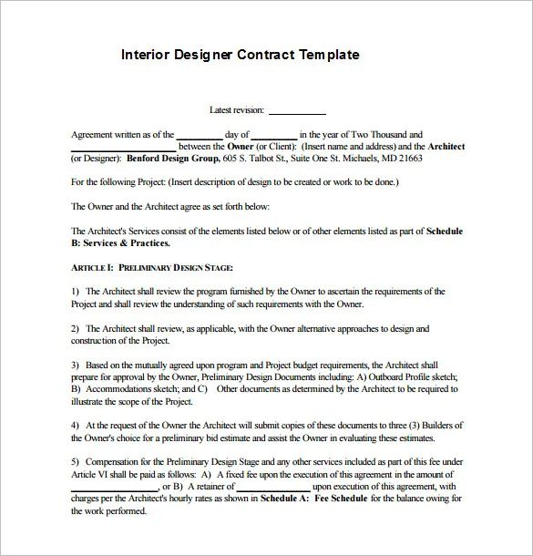interior decorator contract