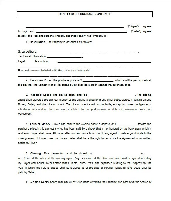 7+ Real Estate Contract Templates - PDF, DOC Free  Premium Templates - home sales agreement template
