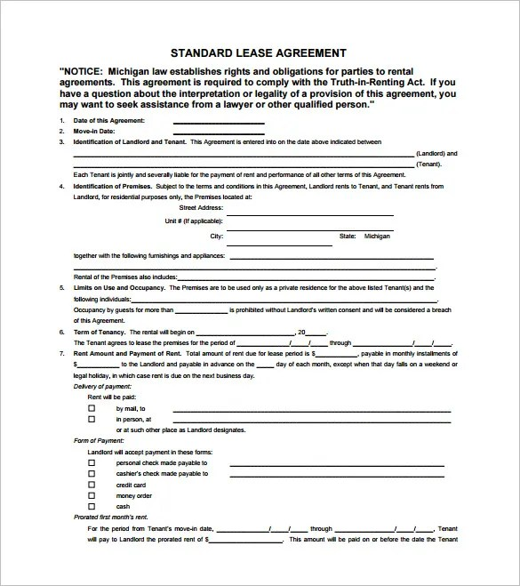 9+ Lease Contract Templates \u2013 Free Word, PDF Documents Download