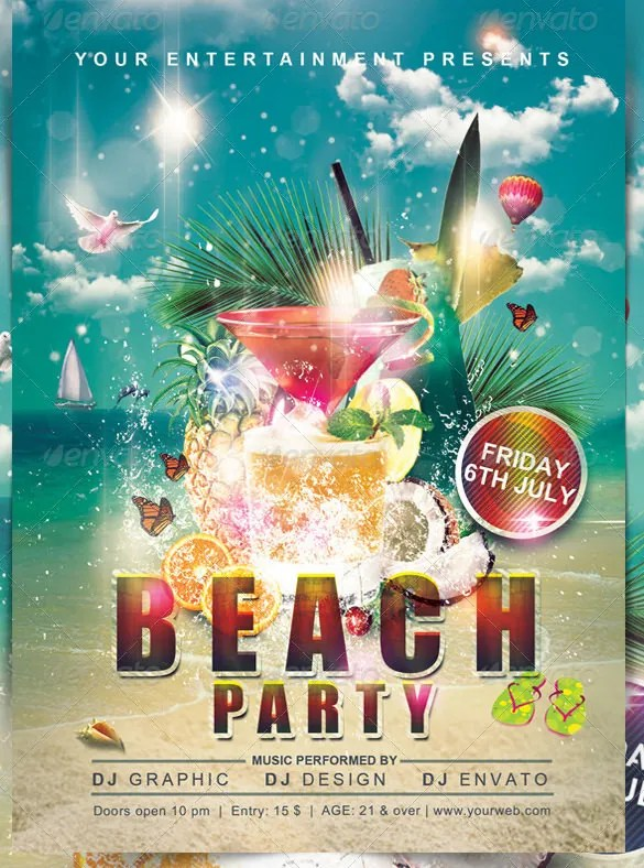 24+ Amazing PSD Beach Party Flyer Templates  Designs Free