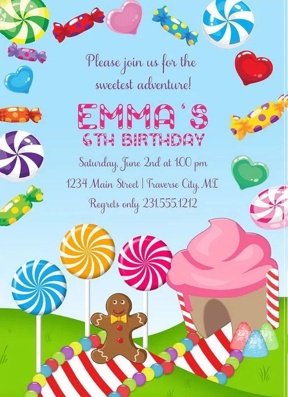candyland birthday invitation wording
