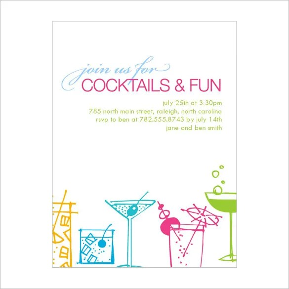 19+ Stunning Cocktail Party Invitation Templates  Designs! Free - birthday party card template