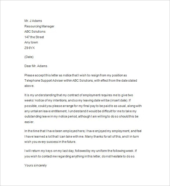 10+ Two Weeks Notice Letter Templates - PDF, DOC Free  Premium
