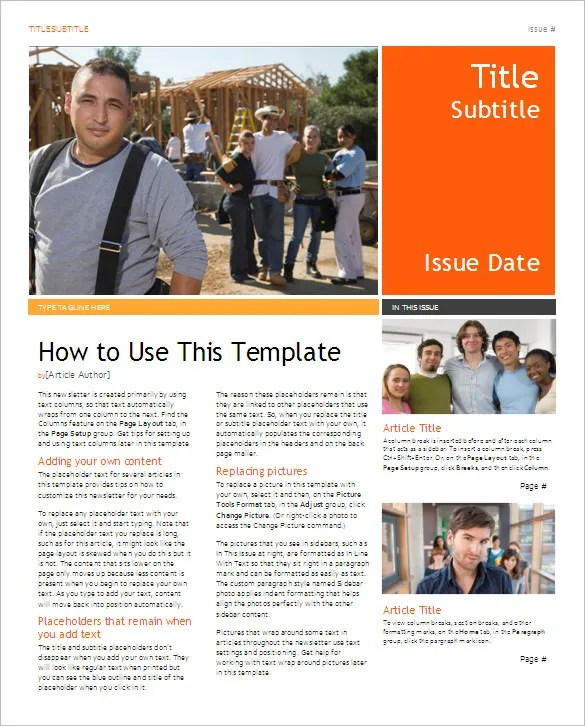 how to get newsletter templates on microsoft word - Funfpandroid - Newsletter Templates Free Word
