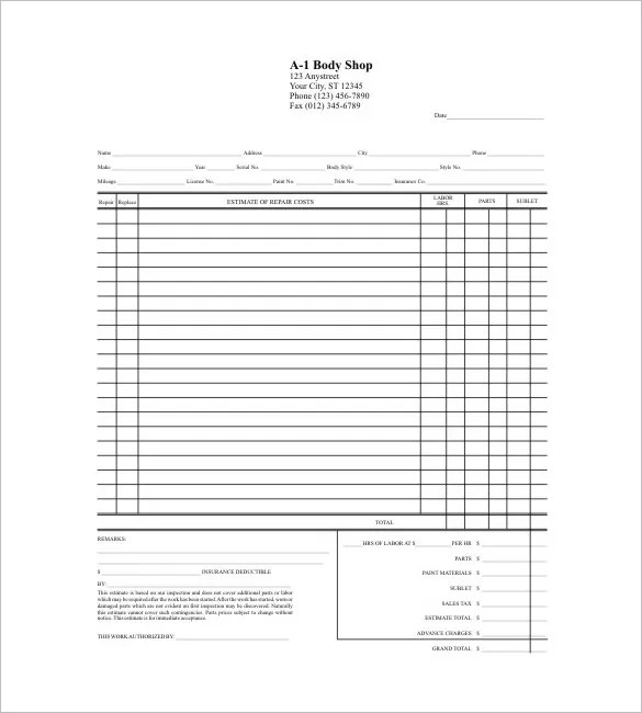 Download Auto Body Shop Invoice Template | Rabitah.Net