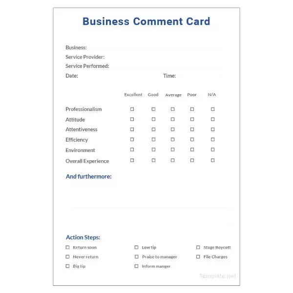 Restaurant Comment Cards Templates Free masterlistforeignluxury