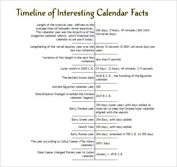 7+ Calendar Timeline Templates - DOC, Excel Free  Premium Templates
