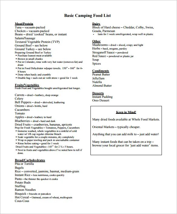 Camping Grocery List Template  88+ Camping Menu Planner - Camping