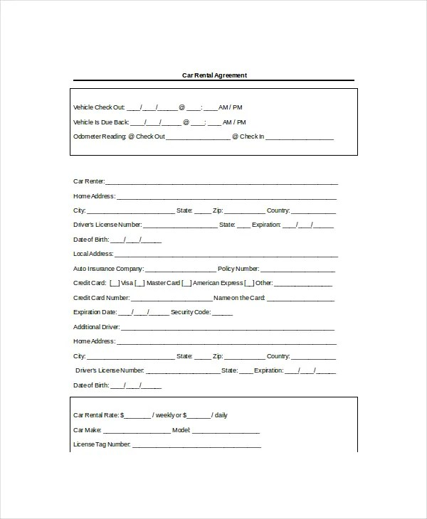 13+ Rental Agreement Templates - Free Sample, Example, Format - Auto Contract Template