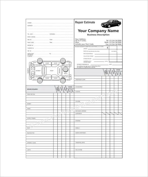 car repair estimate template