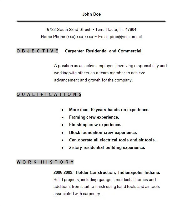 Carpenter Resume Template u2013 9+ Free Samples, Examples, Format - carpenter job description