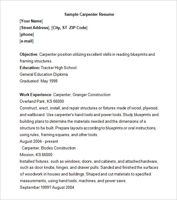 Carpenter Resume Template \u2013 9+ Free Samples, Examples, Format - Carpenter Resume Templates