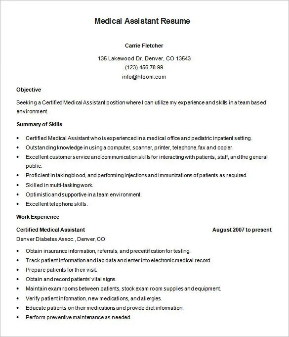 Medical Assistant Resume Template \u2013 8+ Free Samples, Examples - medical resume builder